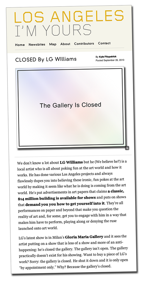 Read Kyle Fitzpatrick's article  about Closed by LG Williams  in Los Angeles I'm Yours