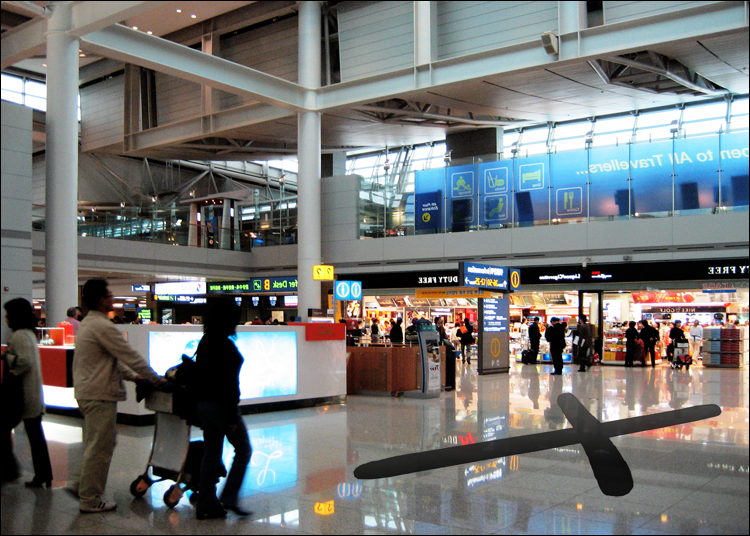 """LG Williams, (Nothing Dodgy) Hang Out, Chill Out, Relax, Play On My Laptop, Sleep, Repeat Or, She Is Back To Her Old Self And You Can See The Mischief In Her Eyes Again, 2010, 180 x 230"""", Vinyl Decal On Floor, Korea Incheon International Airport Seoul, Korea"""