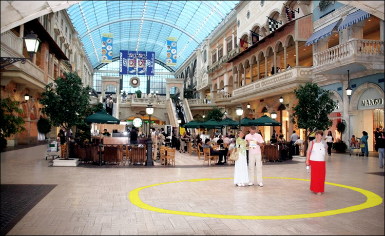 LG Williams, Email The Name When You Have The Or You Are An Addict. I Hope You Understand. I Don't Want Another Train Wreck, 2010, 169′ dia, Vinyl Decal On Floor, Mercato Shopping Mall, Dubai, United Arab