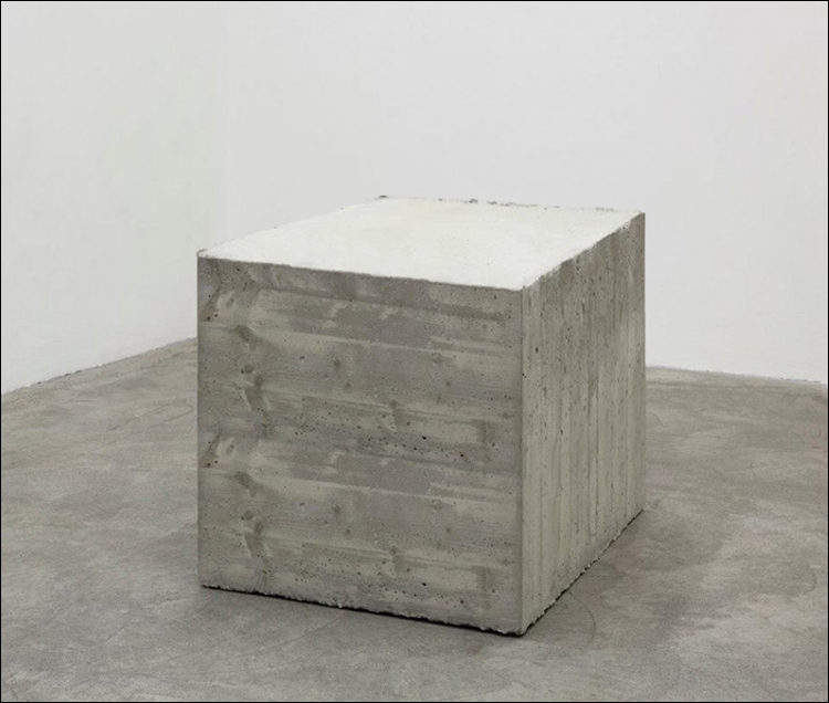"LG Williams, Minimalism Turned On Its Head (Block - Bong - Vase???), 48 x 48 x 48"", Concrete"