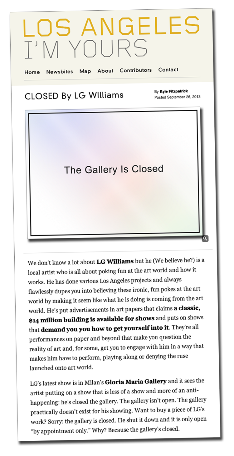 Read Kyle Fitzpatrick article about Closed by LG Williams in Los Angeles I'm Yours