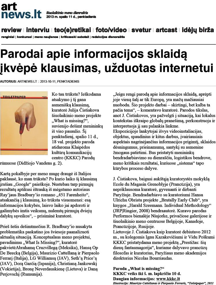 ArtNews.lt, Meno Naujienos / Renginiai, Parodai apie informacijos sklaidą įkvėpė klausimas, užduotas internetui, October  11