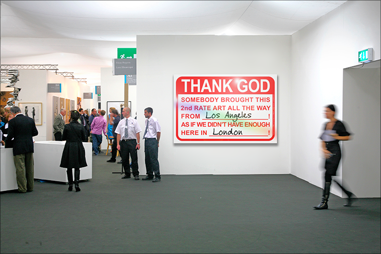 LG Williams, Thank God! or The Dog Is Taking Things Hardest…Crying Every Night, 2014, 40 x 60″, Vinyl and Engineer Grade Reflective Sheeting on Heavy-Duty Aluminum