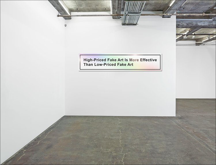 LG Williams, High-Priced Fake Art Is More Effective Than Low-Priced Fake Art or My Clients Are Heartbroken By This False Accusation, 2014. 18 x 84″, Vinyl and Engineer Grade Reflective Sheeting on Heavy-Duty Aluminum