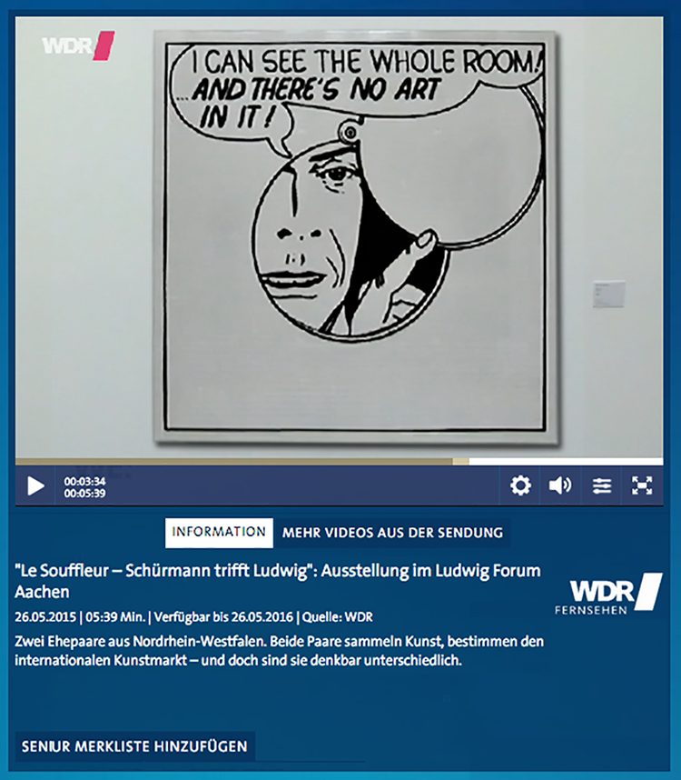 "WDR Television, ""Le Souffleur - Schürmann meets Ludwig"": exhibition in the Ludwig Forum Aachen, WESTART-Magazin, May 26"