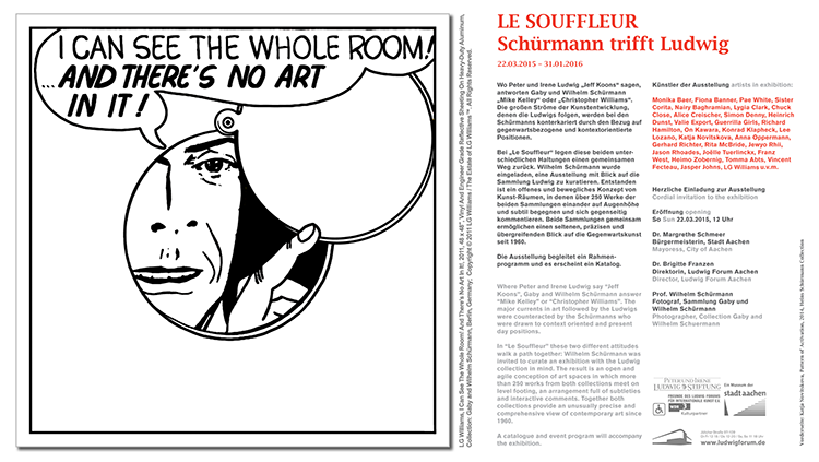 LG Williams participates in Le Souffleur: Schürmann meets Ludwig, Ludwig Forum Aachen, March 22, 2015 – January 31, 2016.