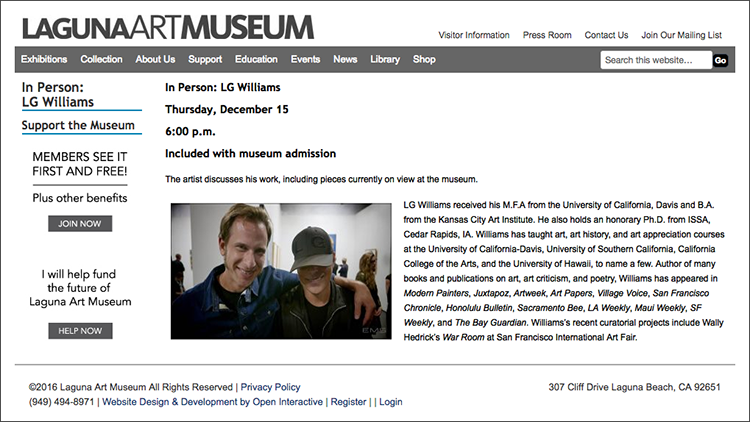LG Williams lecture at Laguna Art Museum